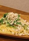 鶏ひき肉と水菜のパスタ