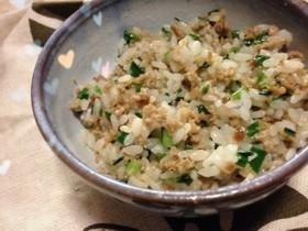 超簡単♡ニラと挽き肉の餃子風炒飯