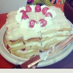 カスタードワッフルケーキ