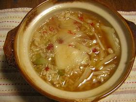 白菜・エノキの和風雑炊