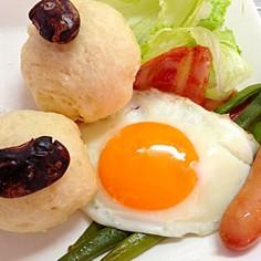 豆豆パンで朝食