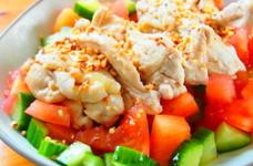 蒸し鶏のサラダ~アーモンド和え~