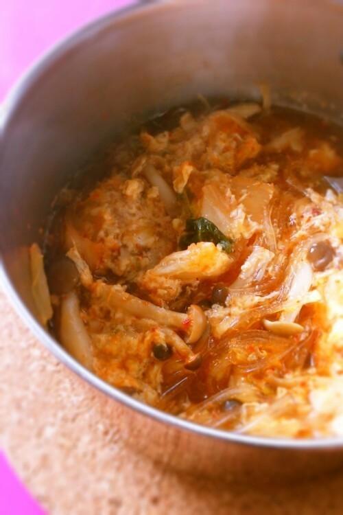 キムチとマロニーのダイエットスープ