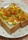 さつまいもと柿の秋色スイーツトースト