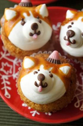 秋田犬サンタのクリスマスカップケーキ☆