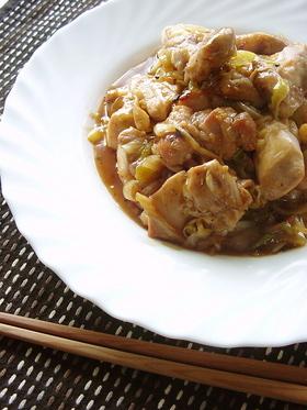 長ねぎと鶏肉の甘酢炒め。