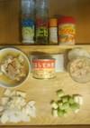 鮭缶と白豆のスープ煮