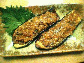 茄子のしぎ焼(肉味噌のせ)