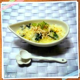 レンジで鶏と卵の中華粥(雑炊)
