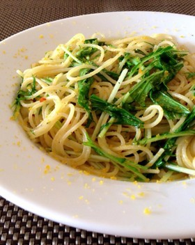 ボッタルガと水菜のペペロンチーノ