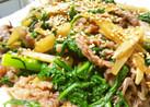 【春菊・ごぼう・牛肉で】甘辛煮