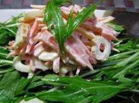 ニンジンとちくわと水菜のわさびマヨサラダ