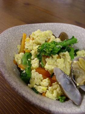 菜の花とあさりで春の香りの炒り豆腐