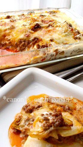 白菜と挽肉のポテト生クリームグラタン