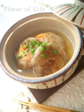 料亭風。挽肉と里芋の小判焼き とろみ餡