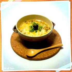 レンジで大葉とチーズの洋風雑炊(お粥)