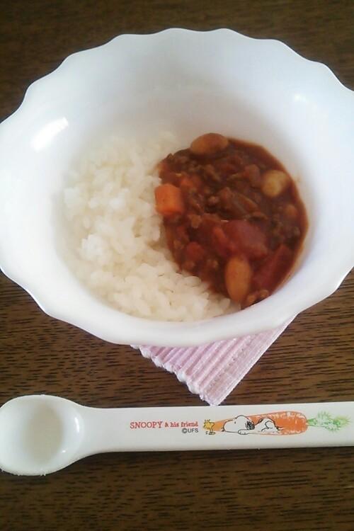 幼児も食べれる!簡単☆お豆のトマトカレー