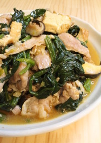 塩麹豚deほうれん草厚揚げのマーボー豆腐