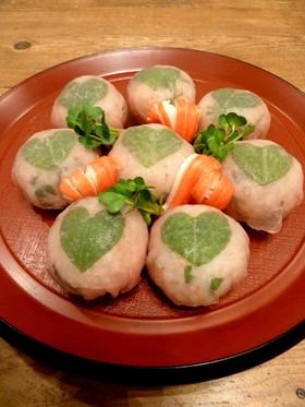 ハートが可愛い♡簡単生ハム手まり寿司♪