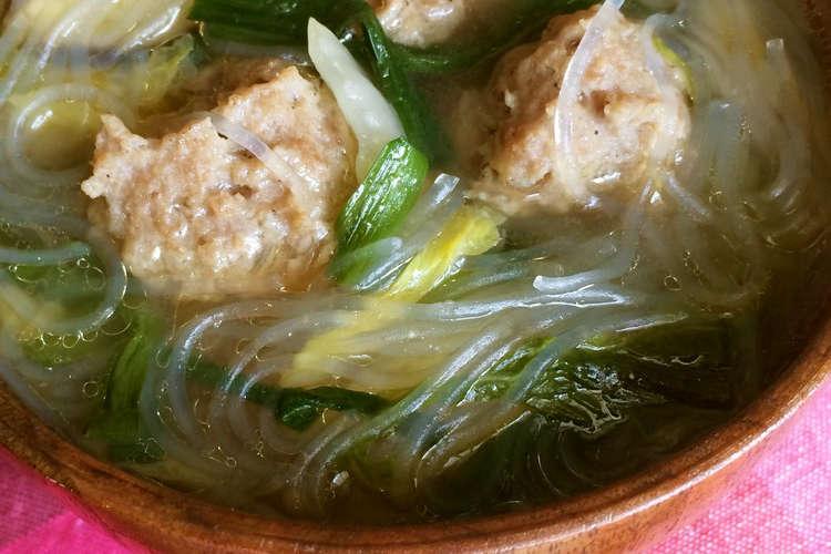 の 肉 団子 スープ と 白菜 やわらか肉団子と白菜のスープ by