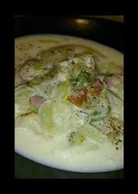 白菜とちびホタテのクリームスープ