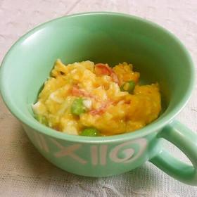 レンジで炒り卵☆枝豆と紅生姜を入れて♪