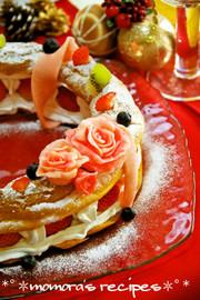 HMで簡単♡シューケーキのXmasリースの写真