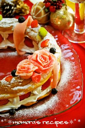 HMで簡単♡シューケーキのXmasリース