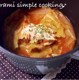 ストウブで。鶏胸肉のトマトスープ煮