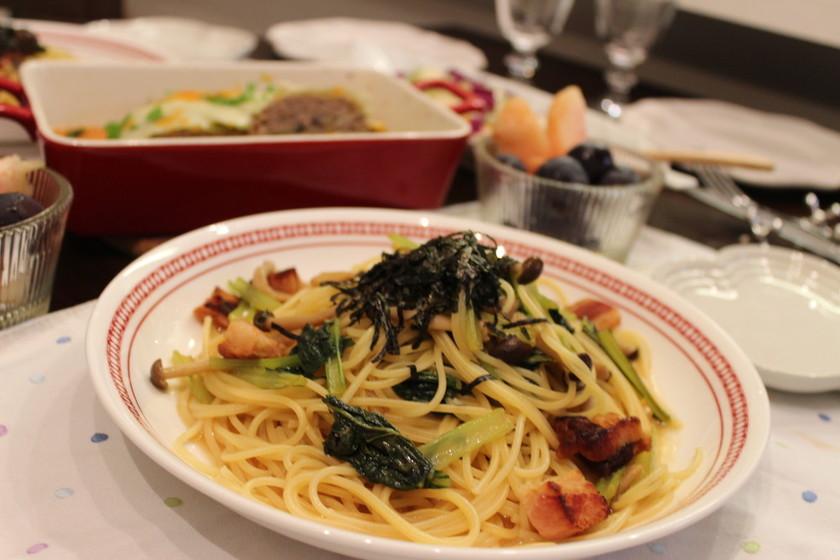 小松菜とベーコンの和パスタ☆柚子胡椒風味