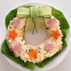 きゅうりのリボン☆リース型ポテトサラダ