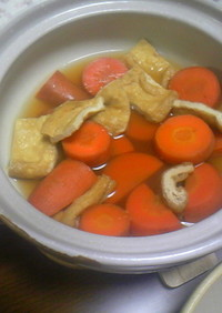 簡単☆土鍋でにんじんと油揚げの煮物