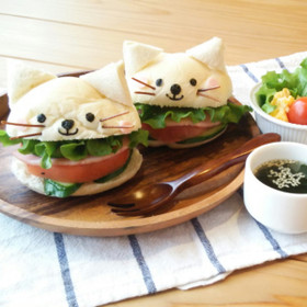 キャラ弁にも☆白ネコのサンドイッチ♪