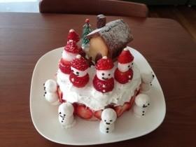 子供が喜ぶクリスマスケーキ デコ♪