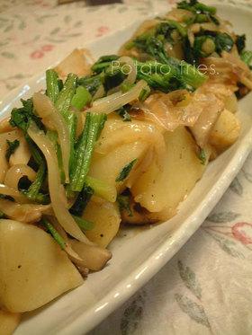 菜の花のジャガバター♪和風小料理屋風炒め