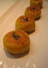そば粉入り*かぼちゃの葱みそお焼き。
