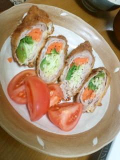 三色野菜のロールトンカツ