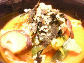 夫が作るキムチスープ
