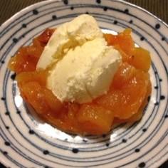 干し柿のバニラアイス添え