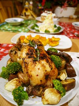 簡単♪薪ストーブのオーブンで鶏の丸焼き