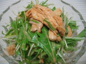 水菜と蒸し鶏のコチュマヨ和え