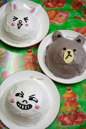 市販ロールケーキでラインキャラケーキ♪