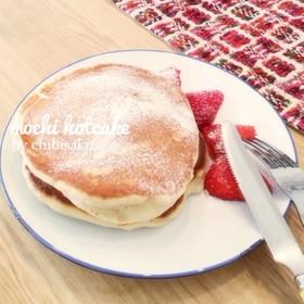 もちふわ♡お餅で苺大福風ホットケーキ