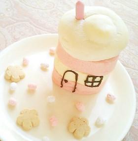 超簡単お菓子の家♪春のロールケーキハウス
