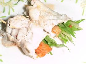 キムチと水菜の豚肉巻き