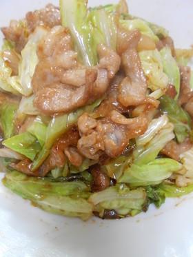 豚肉小間肉と玉葱とキャベツの3点味噌炒め