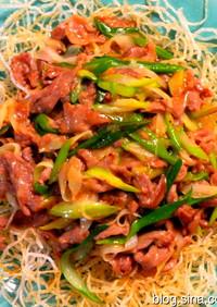 ラム肉とねぎの味噌炒め