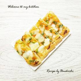 簡単おつまみ✾油揚げでネギ味噌チーズ焼き
