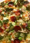 宮城旬野菜 ちぢみ雪菜の和風ピザ