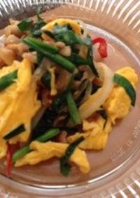 卵と豚肉とニラの炒め物